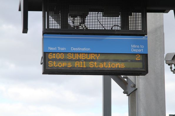Down Sunbury express service arrives at Sunshine 2 minutes early