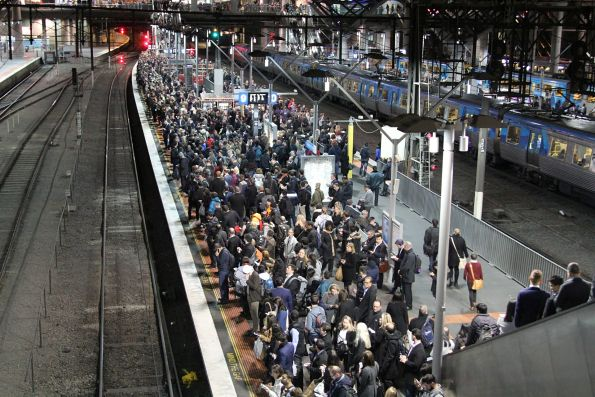 Platform 9 at Southern Cross Station overcrowded, thanks to trains delayed in the Clifton Hill group