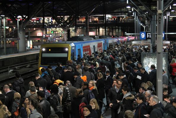 Train finally arrives into the overcrowded platform 9 at Southern Cross Station