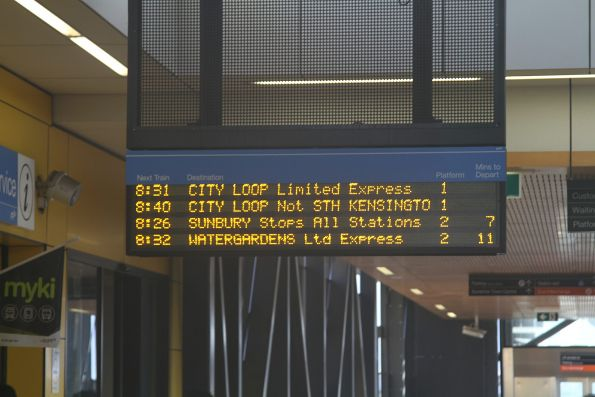 No real time information for up trains at Sunshine station
