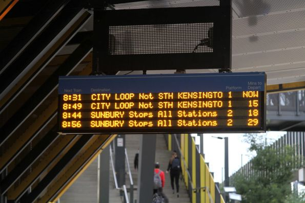 Citybound Sunbury line train running 6 minutes late in morning peak, and a 15 minute gap until the next one