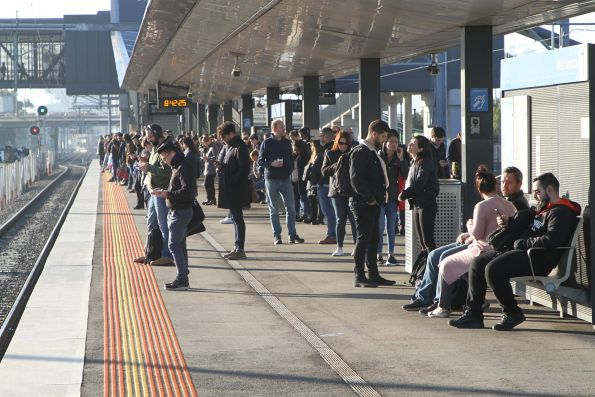 Crowd of passengers still waiting at West Footscray