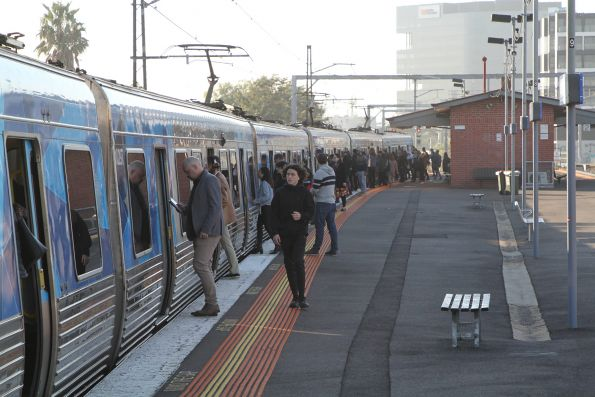 Crowded platform at Middle Footscray, the previous two trains carrying an extra load of passengers between them