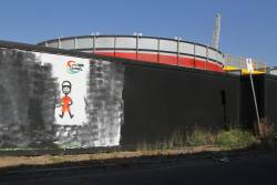 'Metro Tunnel' mural outside the Arden station site