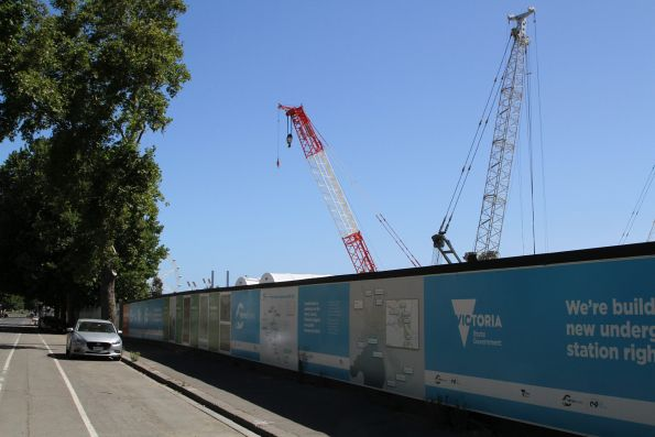 Plenty of cranes beside the TBM launching pit at the Arden station site