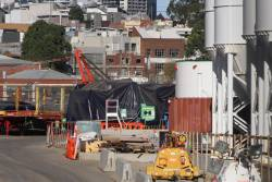 'North' TBM in pieces beside the future station box