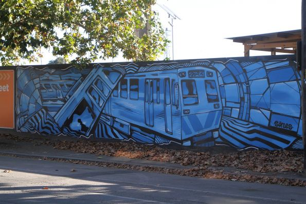 Mural 'Melbourne Trains' by Sofles on the Laurens Street frontage of the site