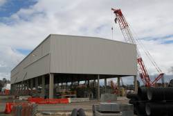 Completed shed over the station box for the storage of precast concrete tunnel segments