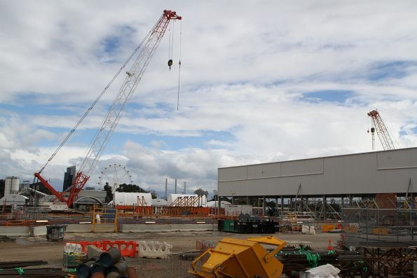 Plenty of cranes still in place around the station box