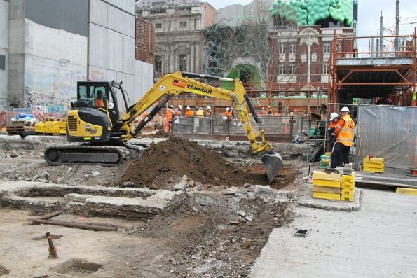 Site clearance works at the corner of La Trobe and Swanston Street