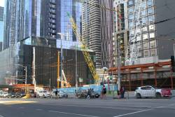 Worksite at the Swanston and La Trobe Street shaft