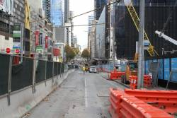 La Trobe Street closed eastbound at Swanston Street to permit an underground connection to Melbourne Central station to be completed