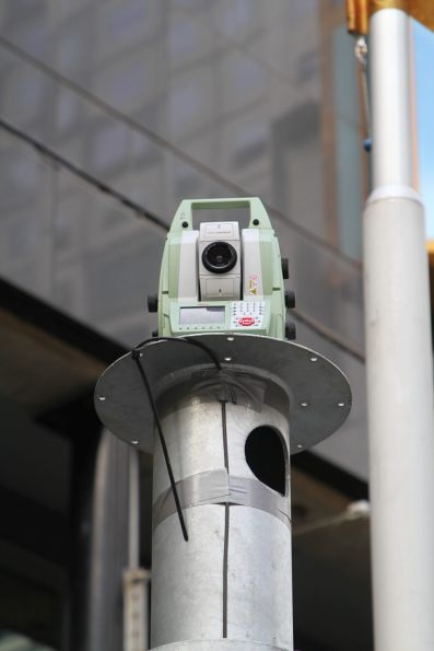 Robotic Total Stations installed at Swanston and Little La Trobe Street, ready to monitor ground movement once tunnelling commences