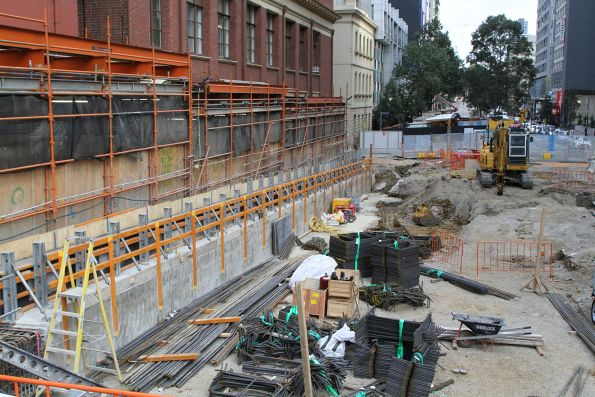 Retaining walls in place along the Franklin Street west shaft