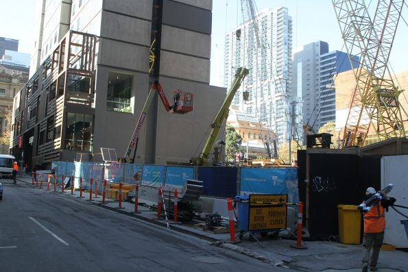 Piling works underway along the Little Latrobe Street frontage