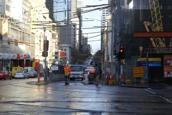 Not much action on La Trobe Street where Melbourne Central will someday connect to State Library