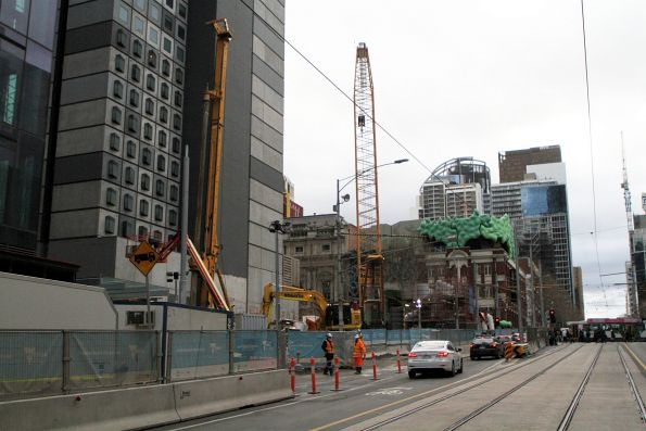 Piling works at La Trobe and Swanston Street shaft