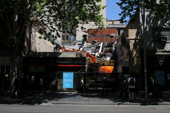 Demolishing the former Hungry Jacks store on Swanston Street