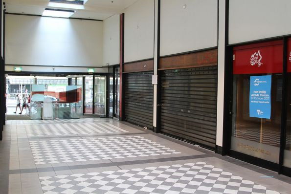 Port Phillip Arcade empty of tenants, about to be demolished to make way for Metro Tunnel works