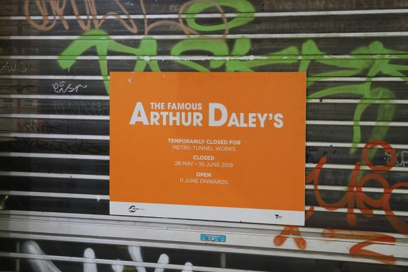 Arthur Daley's store on Swanston Street temporarily closed due to Metro Tunnel works next door