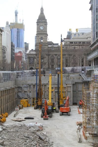 Piling rigs ready to go at the future site of Town Hall station