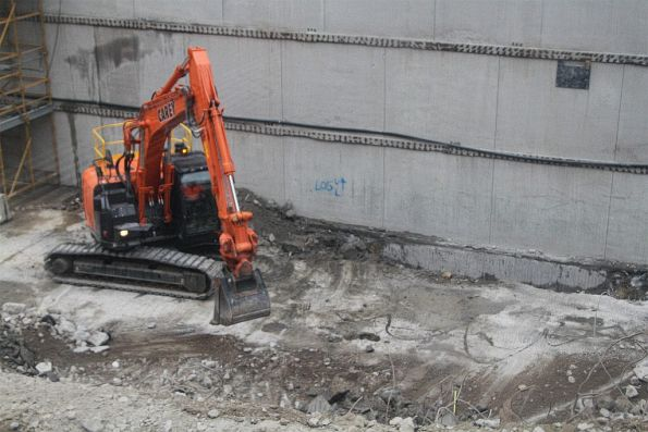 Excavator at work at the bottom of the Town Hall station site