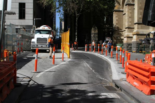 Road widening on Flinders Lane at Swanston Street to provide a delivery bay to the City Square worksite