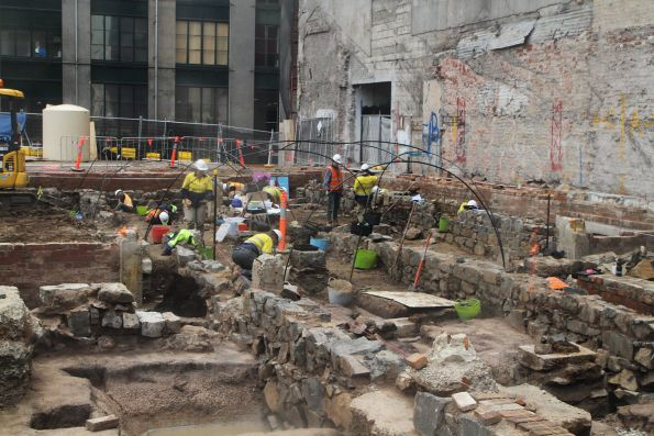 Archaeological dig at the CBD South station site next to Young and Jacksons