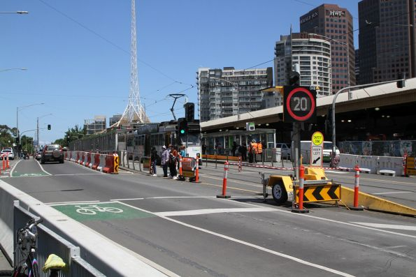 20 km/h speed limit on Swanston Street beside the Federation Square worksite