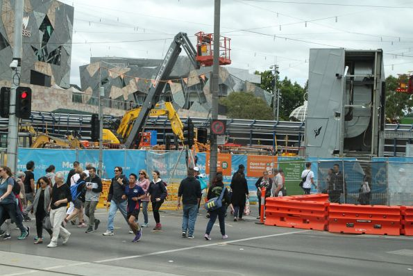Demolition work underway at Federation Square for the future station entrance
