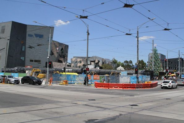 Melbourne Visitors Centre at Federation Square all gone for the new station entrance