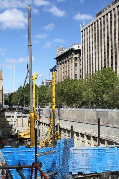 Piling works underway around the edge of the City Square work site