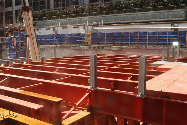 Installing the noise control deck over the City Square pit