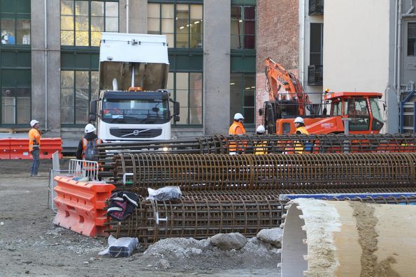Steel reinforcing cages stockpiled at the Young and Jacksons site