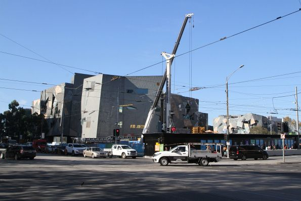 Piling works at the Federation Square site
