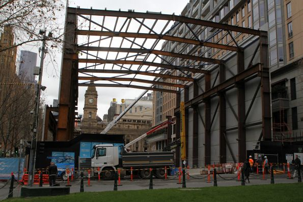 Noise shed taking shape at the south end of the City Square site
