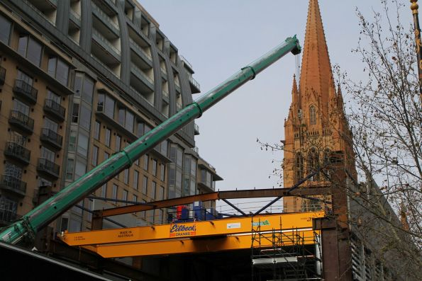 Australian built overhead crane from Eilbeck Cranes being installed at the City Square site