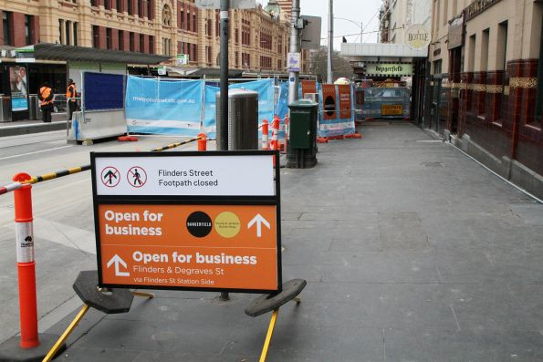 No pedestrian access along the north side of Flinders Street from Swanston Street