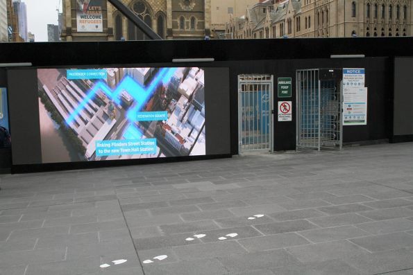 Metro Tunnel video on LED screens facing Federation Square