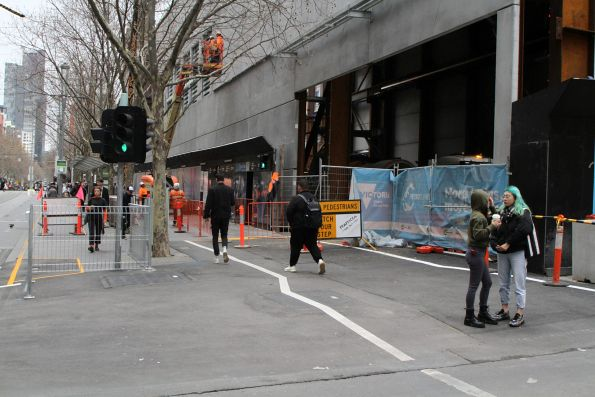 Truck entrance to the City Square acoustic shed has taken over the Swanston Street footpath