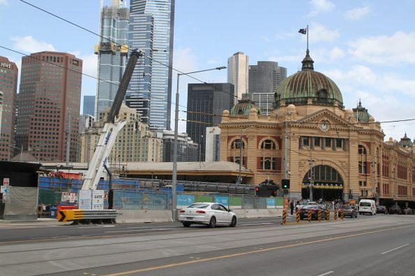 Piling work complete at the Federation Square site, now just a crane to remove spoil skips