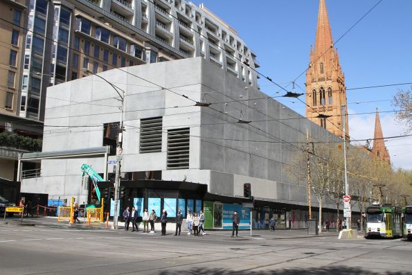 Completed acoustic shed at Swanston and Collins Street