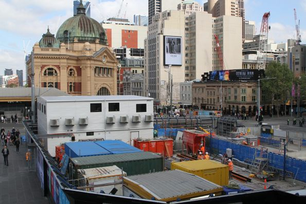 Double storey site office at the Federation Square work site