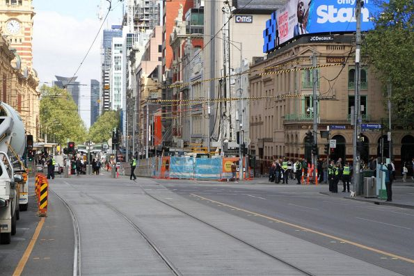 Piling works underway along the future Flinders Street Station connection