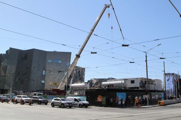 Crane at work at the Federation Square site