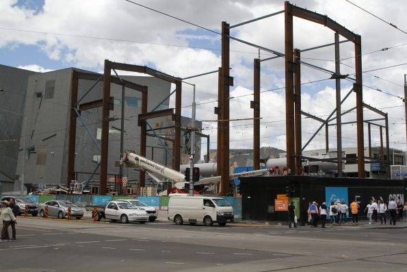 Steel frame for the acoustic shed taking shape at the Federation Square site