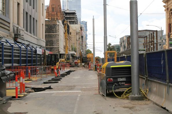 Preparatory works underway along the closed off section of Flinders Street