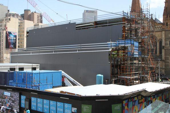 Wall cladding being added to the acoustic shed at Federation Square