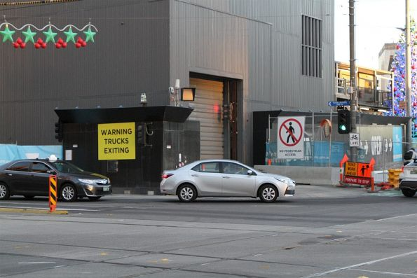 'No pedestrian access' signage at Swanston and Flinders Street thanks to the Metro Tunnel worksite
