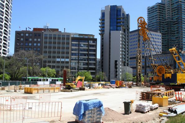 Looking over the Anzac station work site to a diverted tram on St Kilda Road